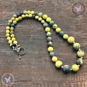 Yellow Turquoise Healing Necklace with Silver Toggle Clasp